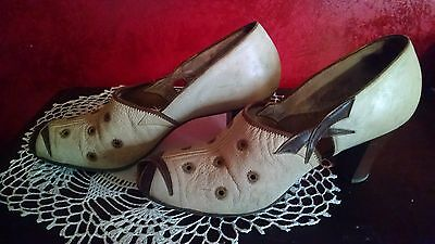 Shoes 1910 1920 1930 Sz 5-6 Flapper Edwardian Original Leather Peep Open Toe VTG