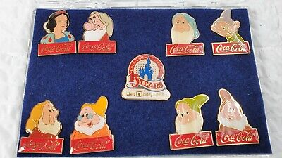 Vintage Coca-Cola 15 Year Walt Disney Pin Set Snow White, 7 Dwarfs & Coca-Cola