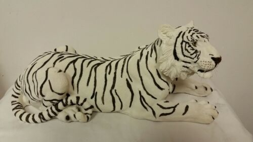 """Large White Tiger Resting 15"""" Long Statue Home Decor Tiger King NEW!"""