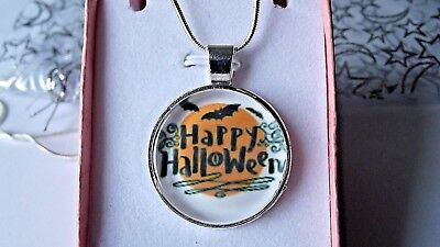 INCH SILVER NECKLACE GIFT BOXED BIRTHDAY PARTY WITCHES CAT (Happy Halloween Spongebob)