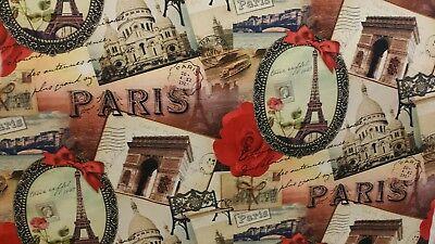 3 YDS STOF FRANCE BEAUTIFUL TROCADERO MULTI COTTON PARIS THEME UPHOLSTERY FABRIC