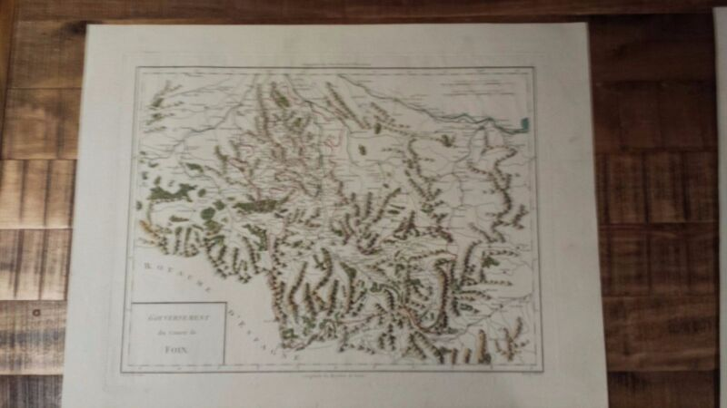 VERY NICE, ANTIQUE Hand Colored map of Foix, France - P. Tardieu, c.1790