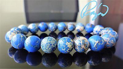 """Blue Sea Sediment Jasper bead bracelet for MEN (On Stretch)  10mm - 8"""" inch AAA"""