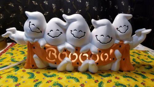 Vtg Ceramic Boo Ghost Halloween light Decoration