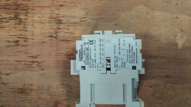 carrier magnetic contactor 10 00431 06 110/220/440v 1ph or 3ph