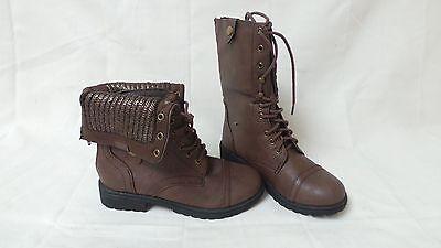New!! Sarah Jayne Toddler Girls Karen Combat Boots - Dark Brown 23W