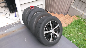 Alloy mag wheels and tyres holden saab Umina Beach Gosford Area Preview