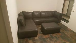 Beautiful genuine leather, corner lounge/sofa + ottoman RRP $3900 Craigie Joondalup Area Preview