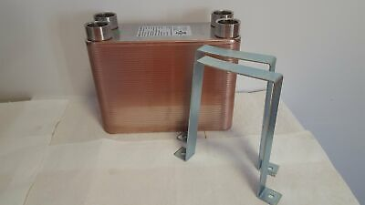 80 Plate Water To Water Brazed Plate Heat Exchanger 1 14 Fpt Ports W Brackets