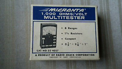 Vintage Micronta 1000 Ohmsvolt Multitester 22-4027 With Box