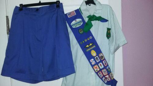 VTG Cadette/Senior Girl Scout Uniform-Shirt/Shorts/Scarf/Sash/Badges/Patches/Pin