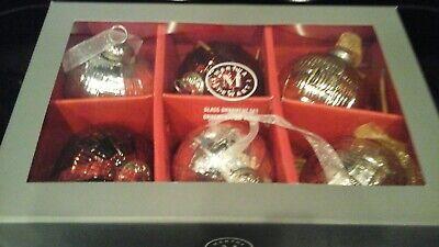 """NEW MERCURY GLASS ORNAMENTS MARTHA STEWART RED SILVER 3"""""""
