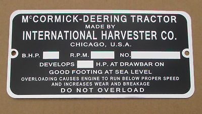 Id Serial Number Plate For Mccormick Deering 10-20