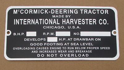 Id Serial Number Plate For Mccormick Deering 10-20