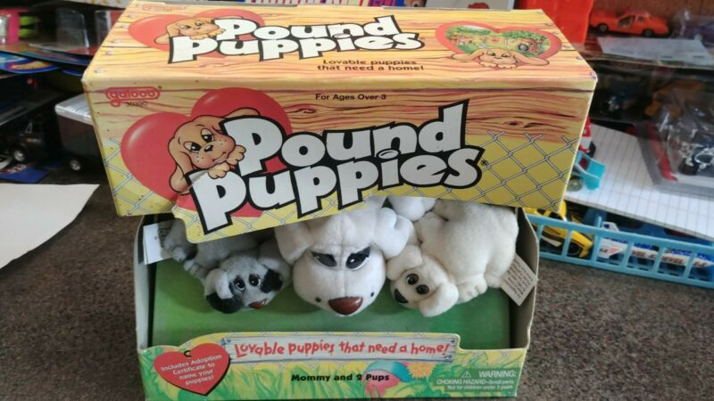 "Vintage Galoob Pound Puppies ""Mommy & 2 Pups"" Boxed"
