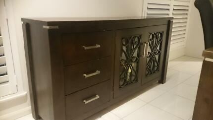 Dark wood, Iron and Glass Buffet Smithfield Cairns City Preview