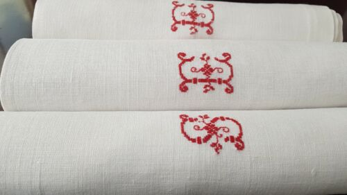 3 Antique French Pure Linen damask  napkins hand monogrammed ES