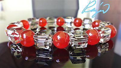 "Genuine Carnelian w/ Faceted Mirror Cube Crystal Bracelet Men Stretch 10mm - 8"""