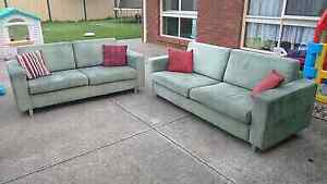 Green Sofa's 3 + 2 seaters Taylors Lakes Brimbank Area Preview
