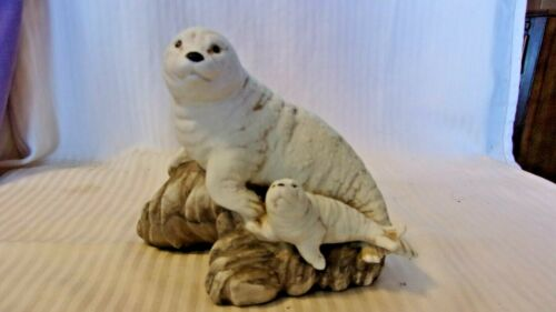 "Ceramic Mother Seal & Baby Seal on Rocks, White and Gray, 5.5"" Tall"