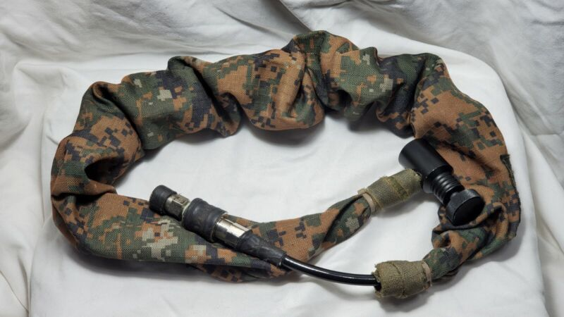 Paintball remote line coiled hose with slide check TAC woodland digital cover