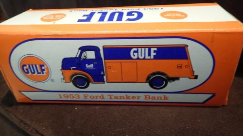 ERTL 1953 GULF FORD TANKER TRUCK Die Cast GAS OIL Petroleum Delivery BANK