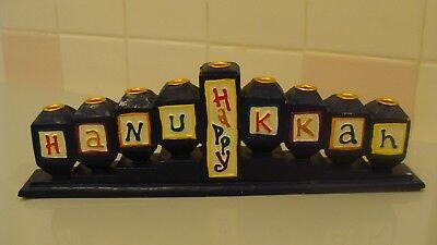 "Vintage Resin Judaica Menorah Hanukkah ""HAPPY HANUKKAH""  9.7""L x 1.3""W x 3""H"