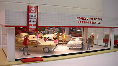 Dodge Chrysler Plymouth Model Car Dealership Diorama 1/24  1/25th scale!!