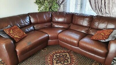 Brown leather corner sofa used