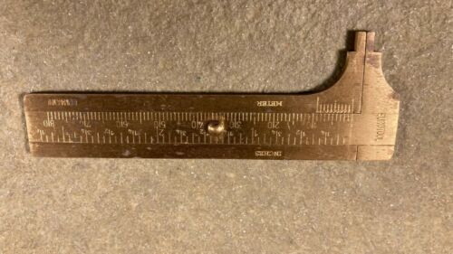 Brass Millimeter Inches Gauge 80mm Pocket Caliper Jewelry Measuring Tool Germany