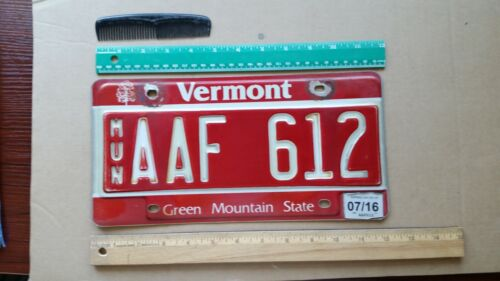 License Plate, Vermont, 2016, Municipal, AAF 612