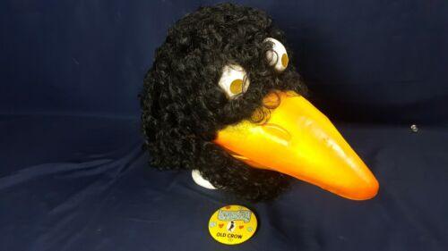 Vintage Old Crow Whiskey Costume Head w Beak Curly Black Hair & Love Bug Pin VG