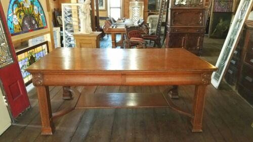 VICTORIAN CARVED QUARTERSAWN OAK PARTNERS DESK