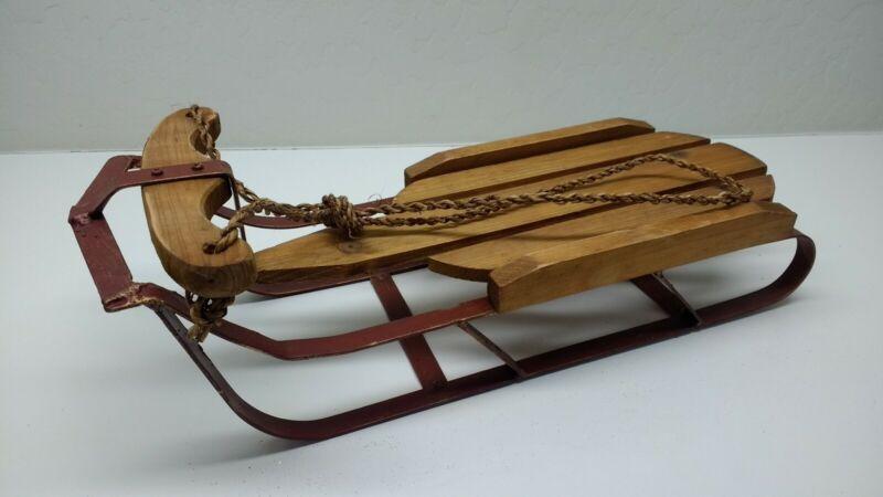 Vintage Winter Wood & Metal Sled w/ Rope. New. 16 long by 6 wide
