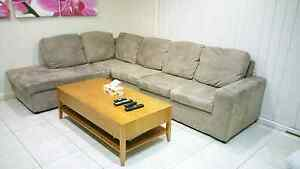 Drake 5 Seater Suede Modular Chaise excellent condition St Andrews Campbelltown Area Preview