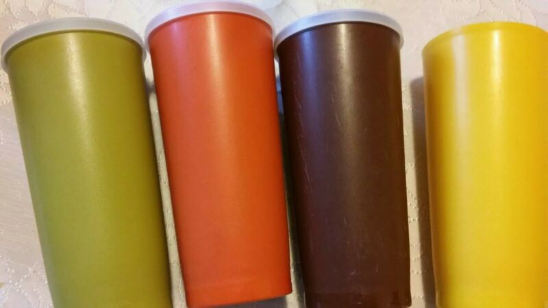 Lot of 4 Vintage Tupperware 18 oz Tumblers Fall Harvest Colors #1348