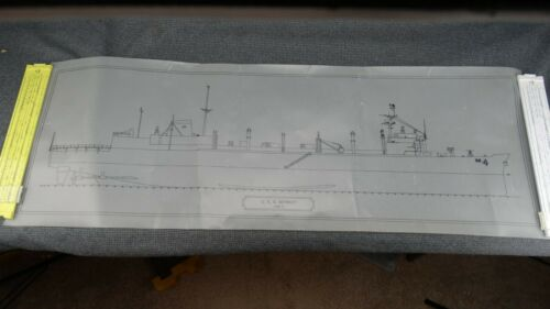 "CADD Ink Drawing Profile of USS Detroit AOE-4 13"" x 37"" - Probably 1980"
