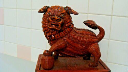 RARE Handmade Woven Wicker FOO DOG Figurine/Basket Peoples Republic of China