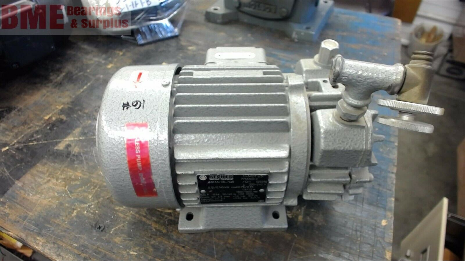 Becker Abf63/4B-7Qr Vacuum Pump, 0.145 Kw, 1600 Rpm, 220-240 Volts,