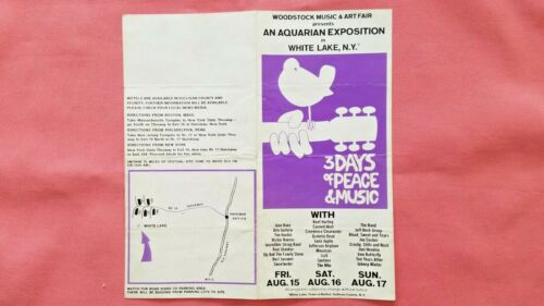 1969 Woodstock White Lake Bethel NY advance ticket order forms pamphlet ad