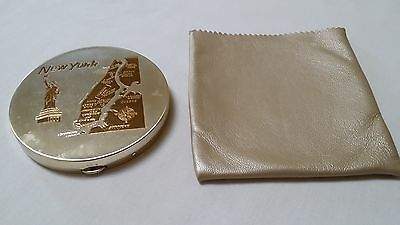 Mid Century New York Land Mark Mirror Compact Silvertone  Goldtone With Bag