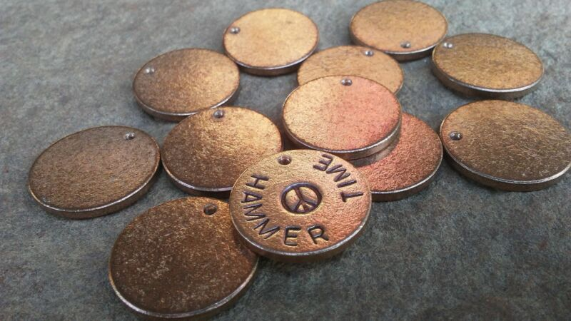 40pc, Metal Stamping Blanks, 22mm x 2mm, Bronze full Washers, Made In USA