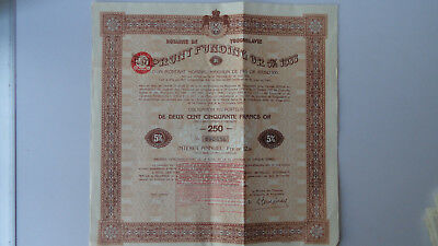 Royaume de Yugoslavie-Emprunt Funding or 5% 1933-250 Francs