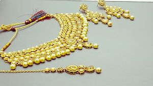 Exclusive Indian Bollywood Jewellery Kundan Pearl Choker Necklac