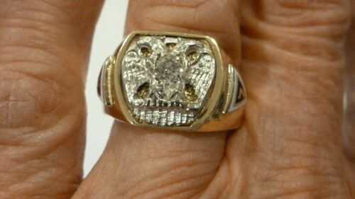 ANTIQUE 10K GOLD 32 DEGREE SCOTTISH RITE MASONIC DIAMOND ENAMEL RING SIZE 10