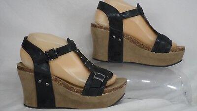 Pierre Dumas 'Hester-2' Studded Black Platform Wedge Sandal Women Size 8 M
