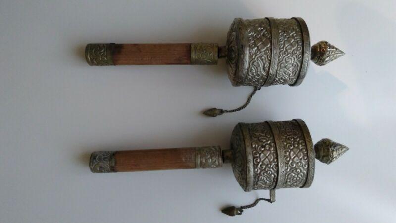 Pair of Antique Handcrafted Tibetan Buddhist Prayer Wheels