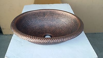 Oval Top Mount - Handmade Oval Hammered Coffee Finish Copper Top Mount Bathroom or Bar/Prep Sink