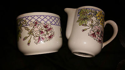 RINGTONS TEA FLORAL TRELLIS MILK AND SUGAR SET BY WADE POTTERY