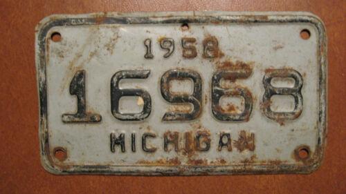 Vintage Original Black/Gray 1958 Michigan Motorcycle License Plate #16968
